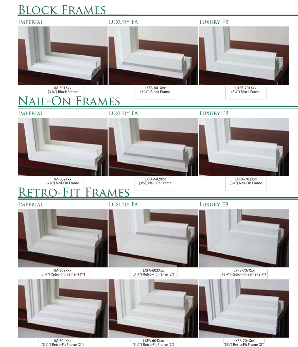 sing hung window frame options